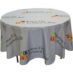 Round Polyester 3 Sided Fitted Table Cover w/ All Over Full Color (Fits 4' Table)